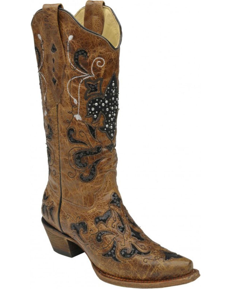 Corral Fleur-de-Lis Sequin Inlay Cowgirl Boots - Snip Toe, Tan, hi-res