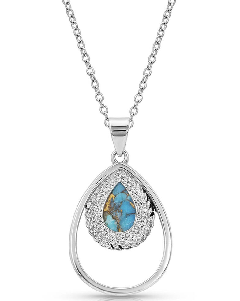 Montana Silversmiths Women's Double Rope Turquoise Necklace, Silver, hi-res