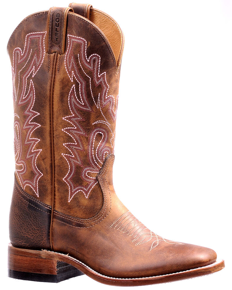 Boulet Women's Shaft Embroidery Western Boots - Wide Square Toe, Brown, hi-res