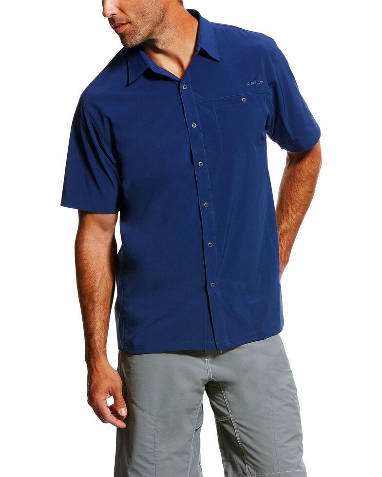 Ariat Men's Blue TEK Solitude Button Down Short Sleeve Shirt , Blue, hi-res