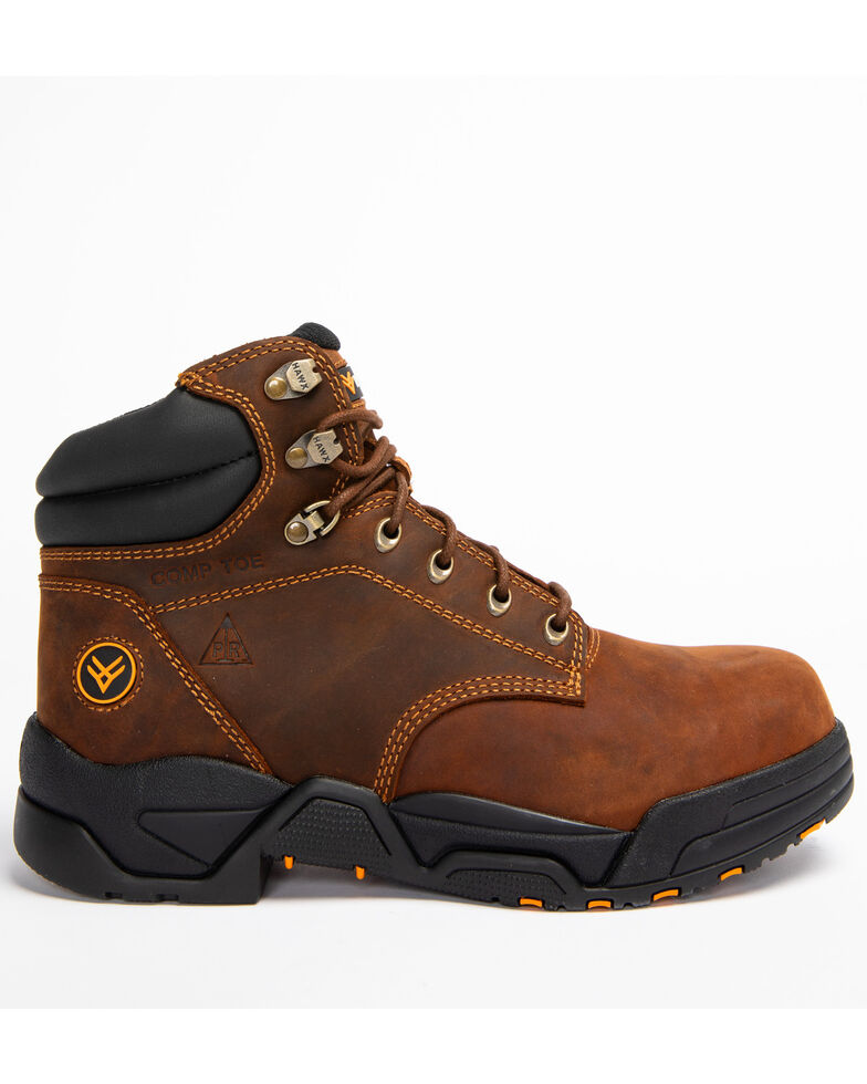 Hawx Men's Brown Enforcer Lace-Up Work Boots - Nano Composite Toe, Brown, hi-res