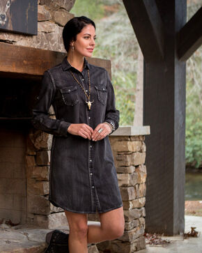 Ryan Michael Women's Denim Dress , Black, hi-res