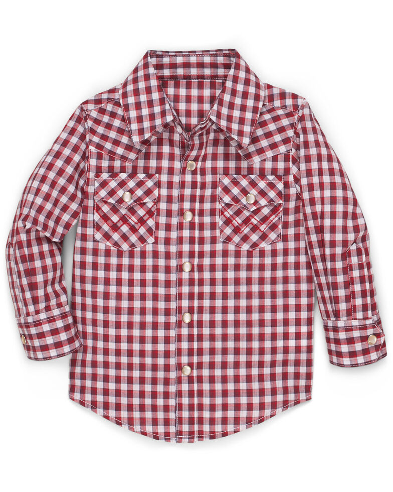Wrangler Toddler Boys' Red Check Plaid Long Sleeve Western Shirt , Red, hi-res