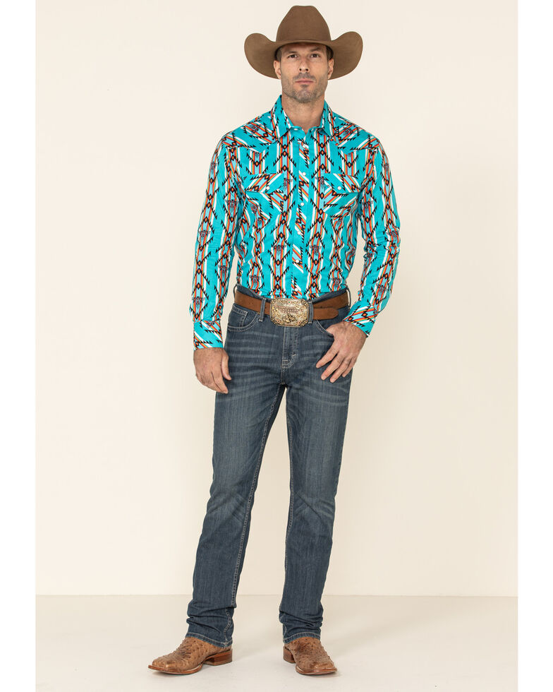 Dale Brisby Men's Turquoise Aztec Print Long Sleeve Western Shirt , Turquoise, hi-res