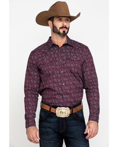 Cody James Men's Gunslinger Paisley Print Long Sleeve Western Shirt - Tall , Maroon, hi-res