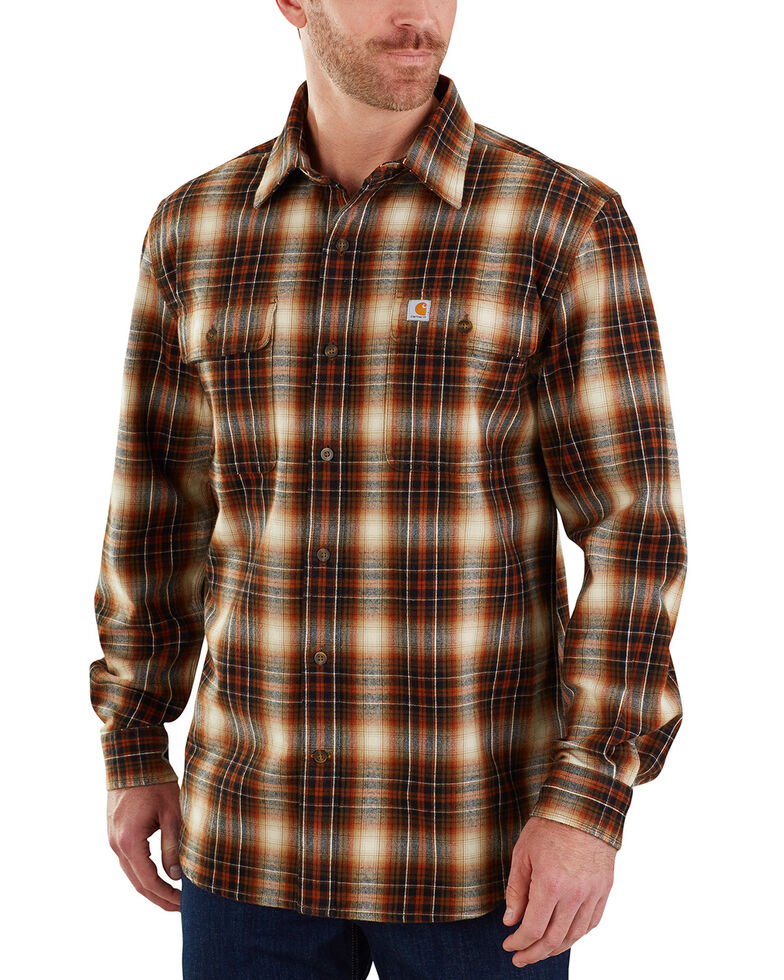 Carhartt Men's Hubbard Long Sleeve Plaid Flannel Work Shirt , Red/brown, hi-res