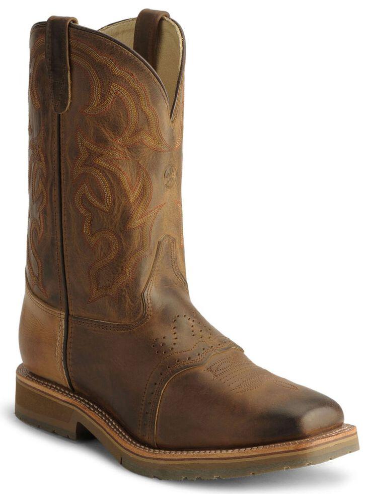Double H Men's Roper Cowboy Work Boots - Steel Toe, Bark, hi-res