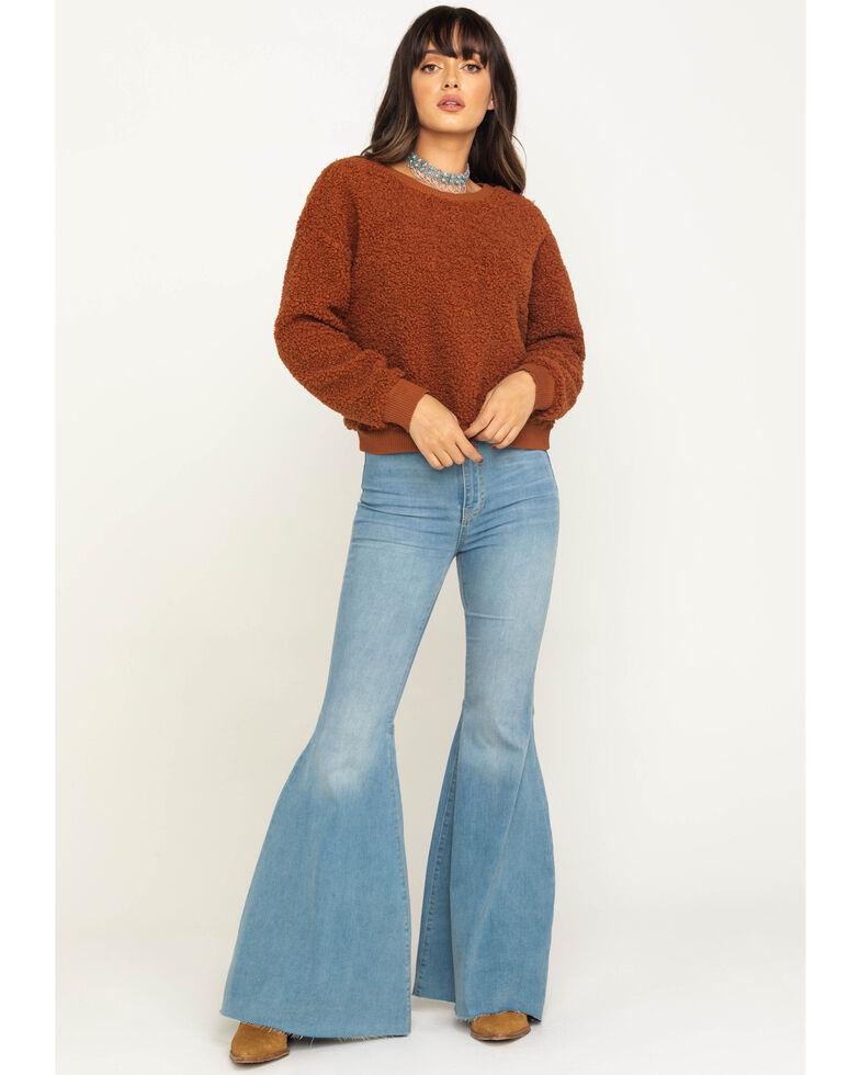 Eyeshadow Women's Fuzzy Sweatshirt , Rust Copper, hi-res