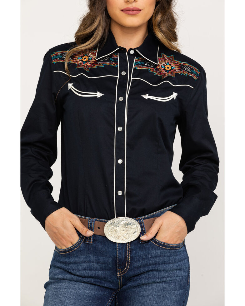 White Label by Panhandle Women's Black Aztec Embroidered Snap Long Sleeve Western Shirt, Black, hi-res