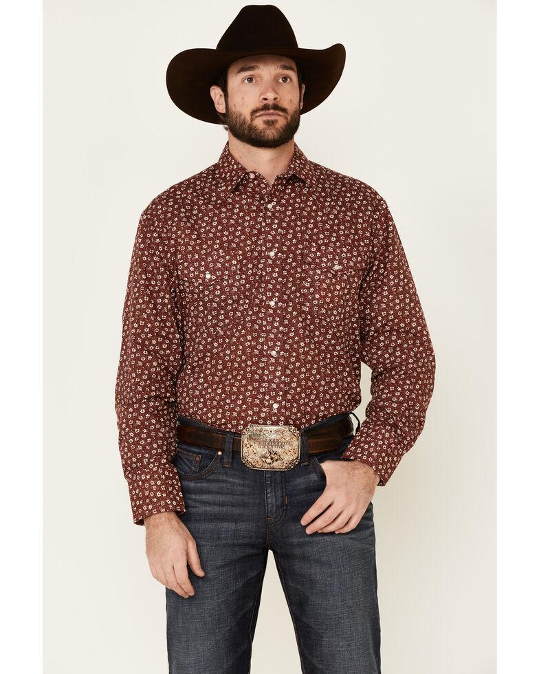 Roper Men's Red Floral Geo Print Long Sleeve Snap Western Shirt , Red, hi-res