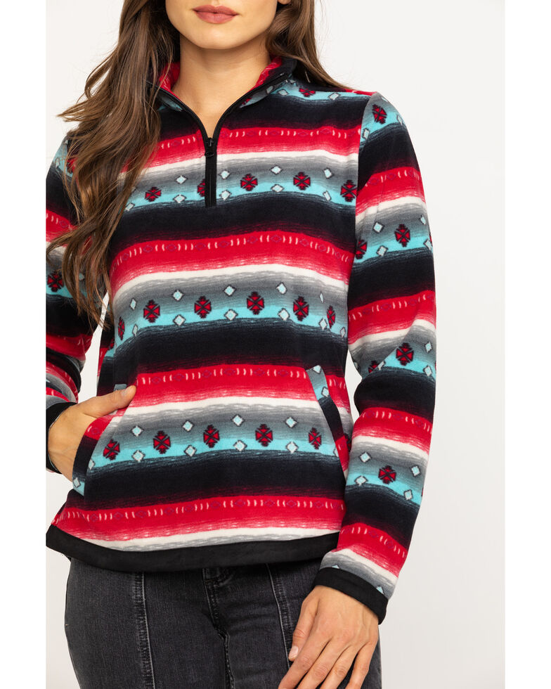 Outback Trading Co. Women's Kate Henley Red Ditsy Stripe Fleece Jacket, Red, hi-res