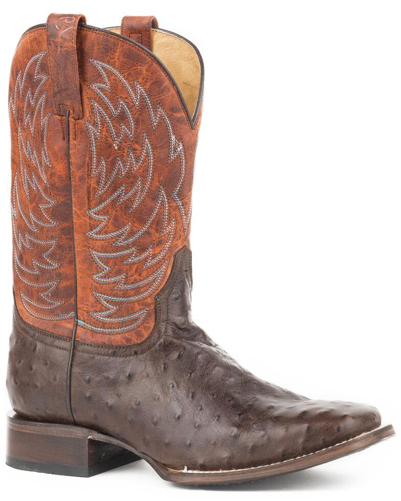 Roper Men's Diesel Embossed Ostrich Cowboy Boots - Square Toe, Brown, hi-res