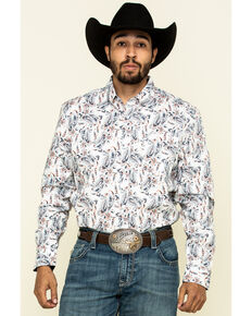 Cody James Core Men's Rodeo Drive Large Paisley Print Long Sleeve Western Shirt - Tall, White, hi-res