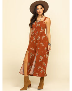 Shyanne Women's Brown Floral Button Slit Midi Dress, Brown, hi-res
