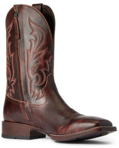 Ariat Men's Hand-Stained Red & Brown Slim Zip Ultra Full Grain Western Boot - Wide Square Toe, Brown, hi-res
