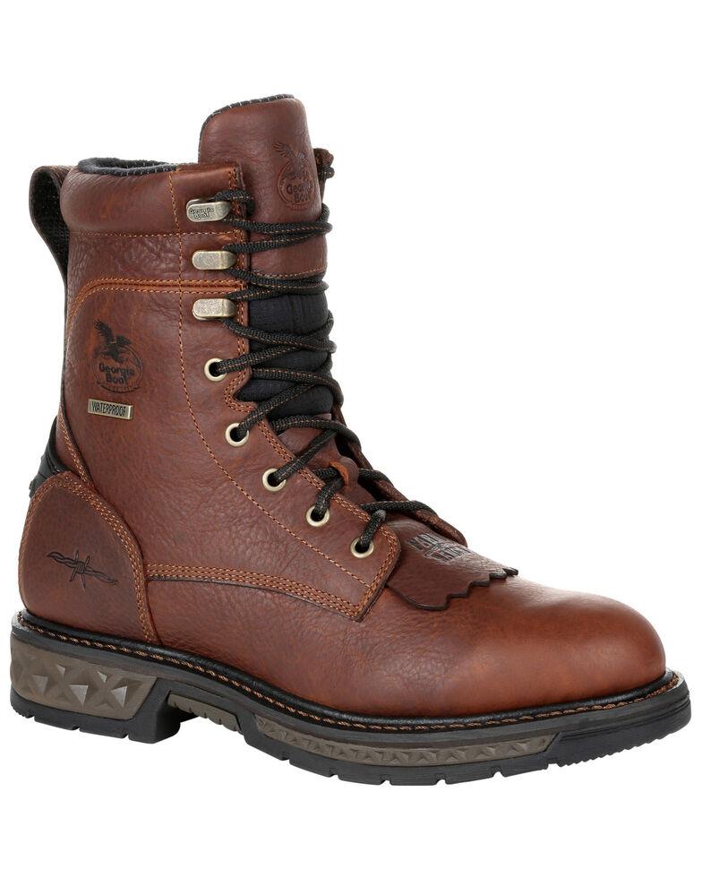 Georgia Boot Men's Carbo-Tec LT Waterproof Lacer Work Boots - Soft Toe, Brown, hi-res
