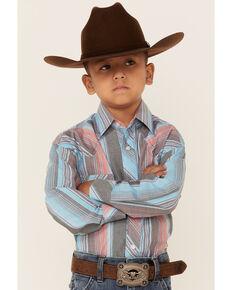 Rock & Roll Denim Boys' Serape Stripe Long Sleeve Snap Western Shirt , Multi, hi-res