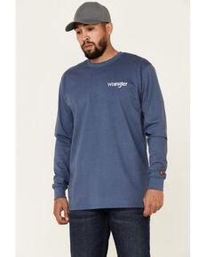 Wrangler FR Men's Wrench Flag Graphic Long Sleeve Work T-Shirt , Indigo, hi-res