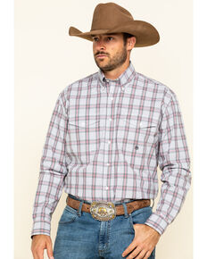 Roper Men's Amarillo Coal Creek Check Plaid Long Sleeve Western Shirt , Grey, hi-res
