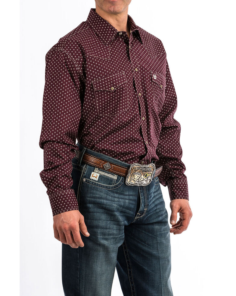 Cinch Men's Purple Dot Diamond Geo Print Long Sleeve Western Shirt , Purple, hi-res
