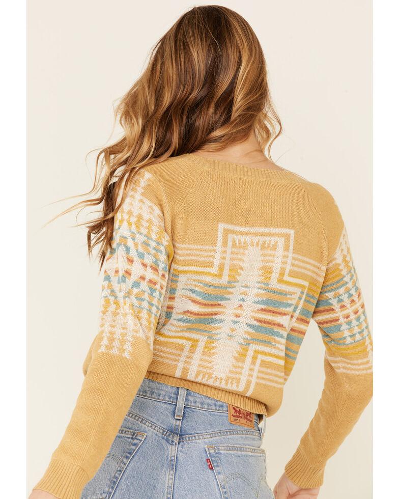 Pendleton Women's Gold Aztec Print Harding Raglan Sweater  , Gold, hi-res