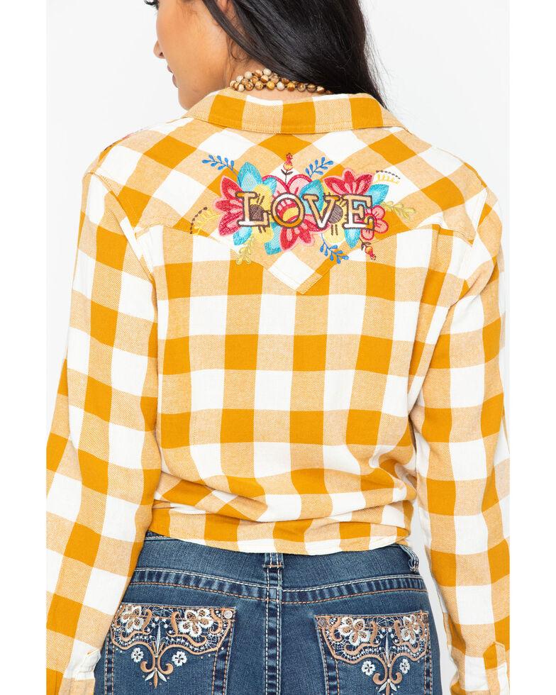 Wrangler Women's Retro Plaid Embroidered Long Sleeve Western Shirt, Dark Yellow, hi-res