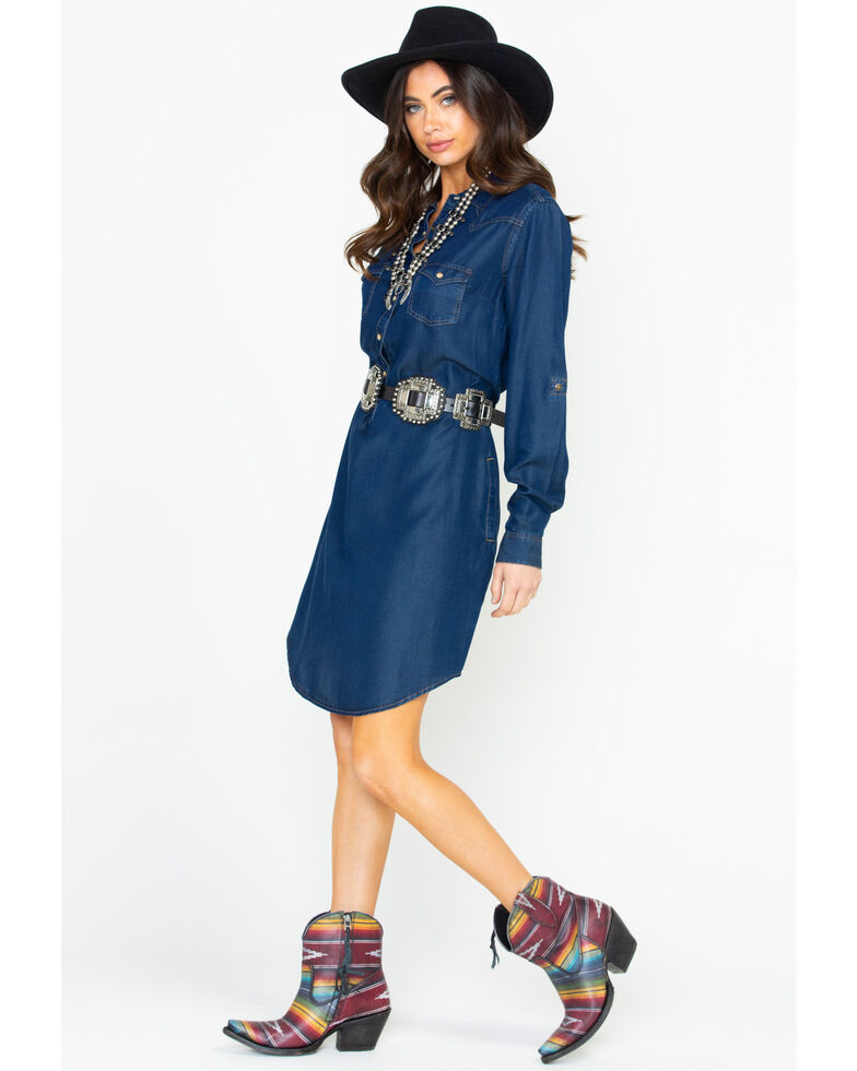 Rough Stock by Panhandle Denim Tecil Snap Front Dress , Dark Blue, hi-res