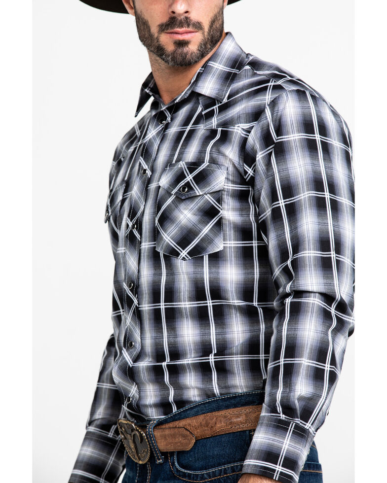 Roper Men's Black Classic Plaid Long Sleeve Western Shirt , Black, hi-res