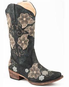 Roper Women's Riley Flowers Western Boots - Snip Toe, Black, hi-res