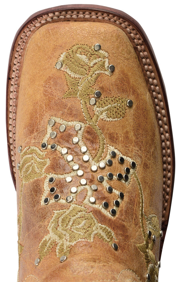 Ferrini Distressed Floral & Cross Embroidered Cowgirl Boots - Wide Square Toe, Antique Saddle, hi-res