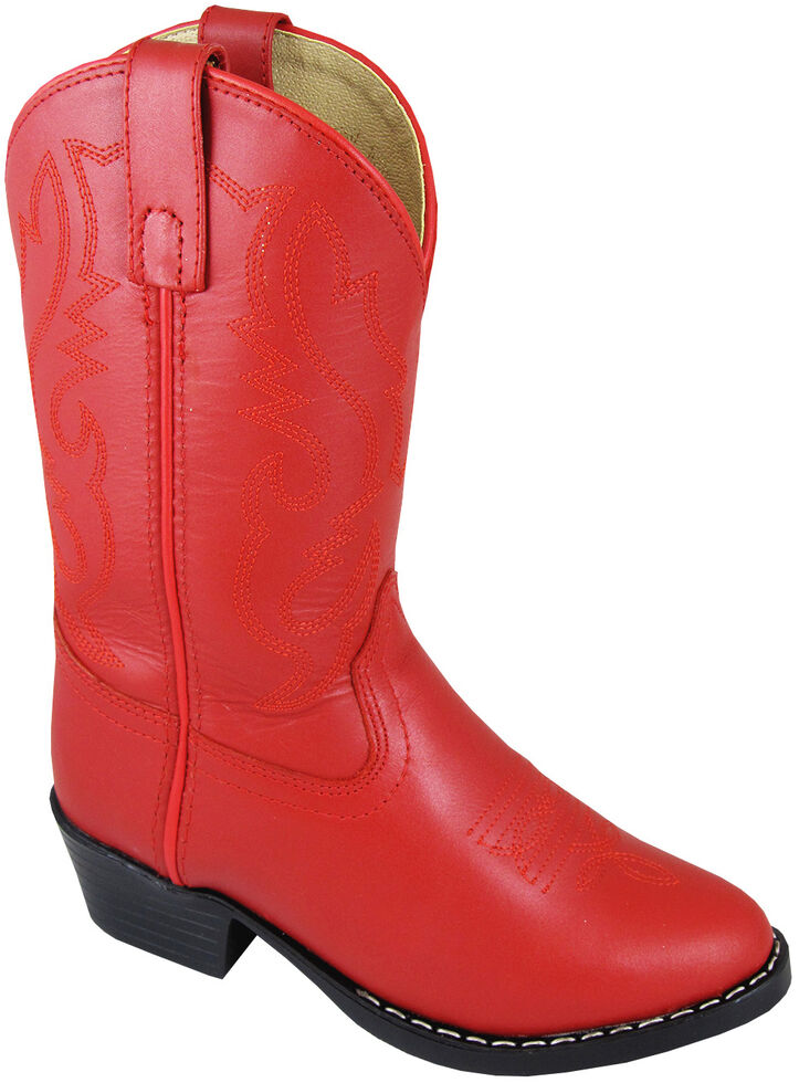 Smoky Mountain Toddler Girls' Denver Western Boots - Round Toe, Red, hi-res