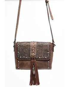Shyanne Women's Maisie Metallic Tooled Front Tassel Leather Crossbody Handbag, Coffee, hi-res