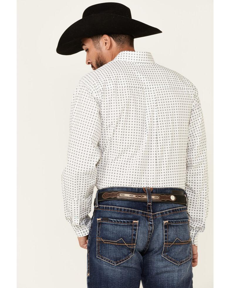 Cinch Men's White Geo Print Long Sleeve Button-Down Western Shirt , White, hi-res