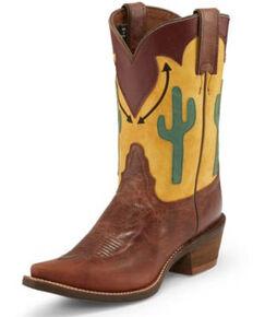 Nocona Women's Phoenix Brown Western Boots - Snip Toe, Brown, hi-res