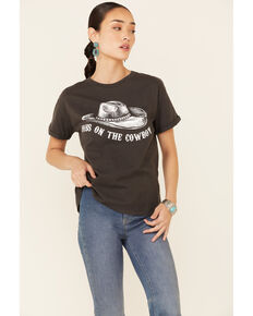 Miss Me Women's Dibs On The Cowboy Graphic Short Sleeve Tee , Charcoal, hi-res