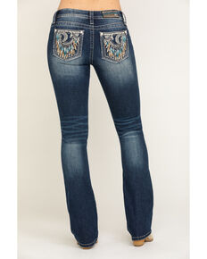 Miss Me Women's Medium Crescent Moon Dreamcatcher Chloe Bootcut Jeans, Blue, hi-res
