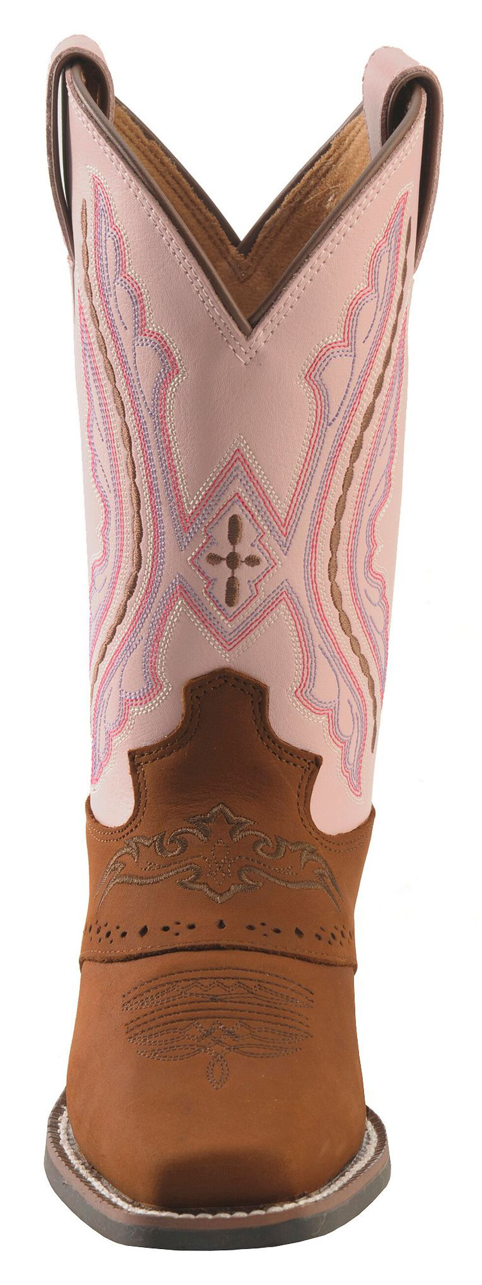 Justin Youth Girls' Western Saddle Vamp Cowgirl Boots - Square Toe, Brown, hi-res