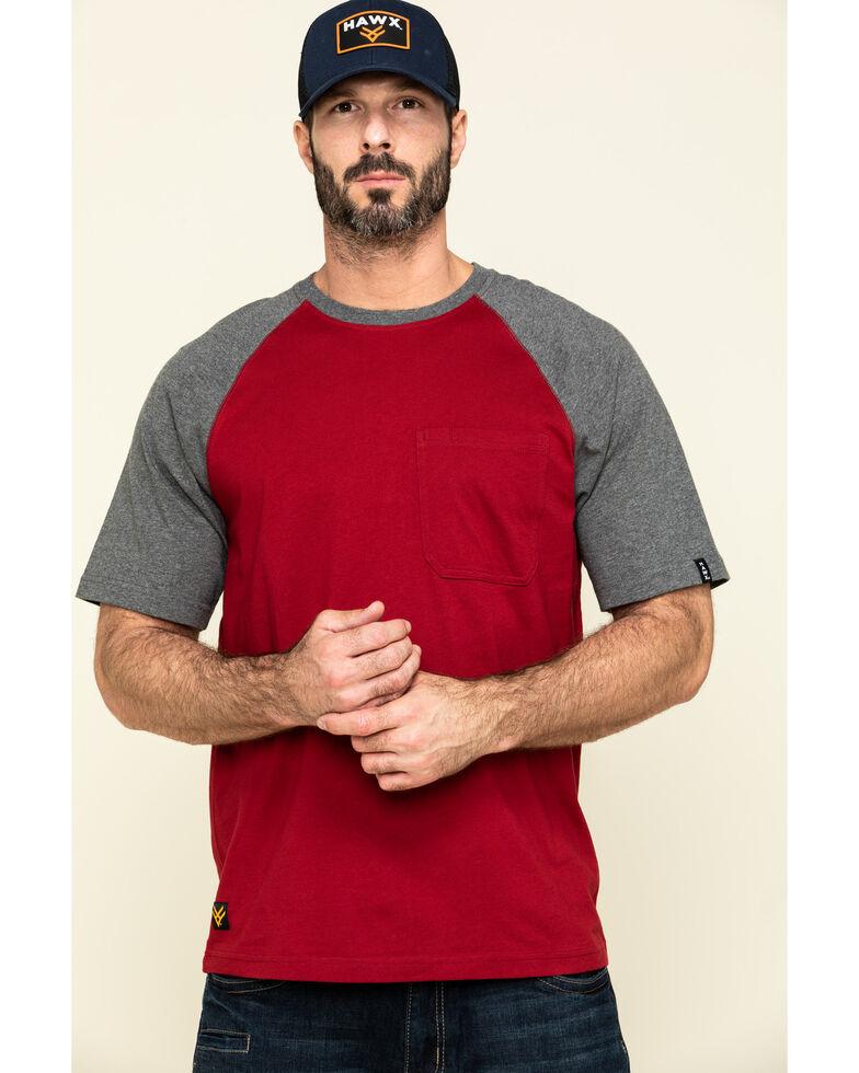 Hawx Men's Red Midland Short Sleeve Baseball Work T-Shirt - Tall , Red, hi-res