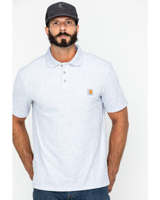 Carhartt Contractor's Work Pocket Polo Shirt - Big & Tall, Hthr Grey, hi-res