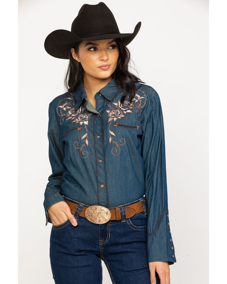 Scully Women's Rose Embroidered Denim Long Sleeve Western Shirt, Blue, hi-res