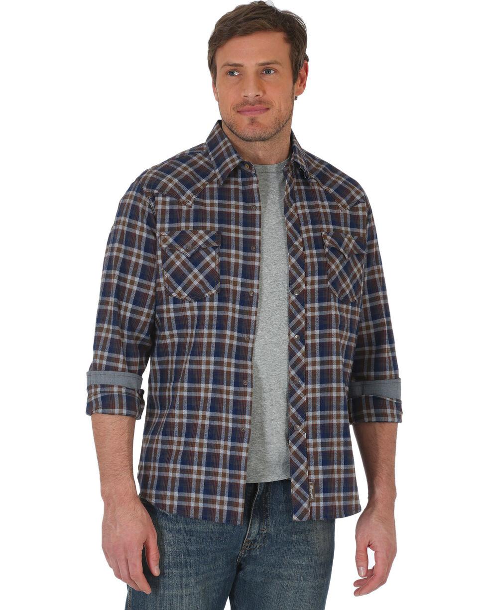Wrangler Retro Men's Navy/Grey Plaid Premium Long Sleeve Snap Shirt - Big & Tall, Navy, hi-res