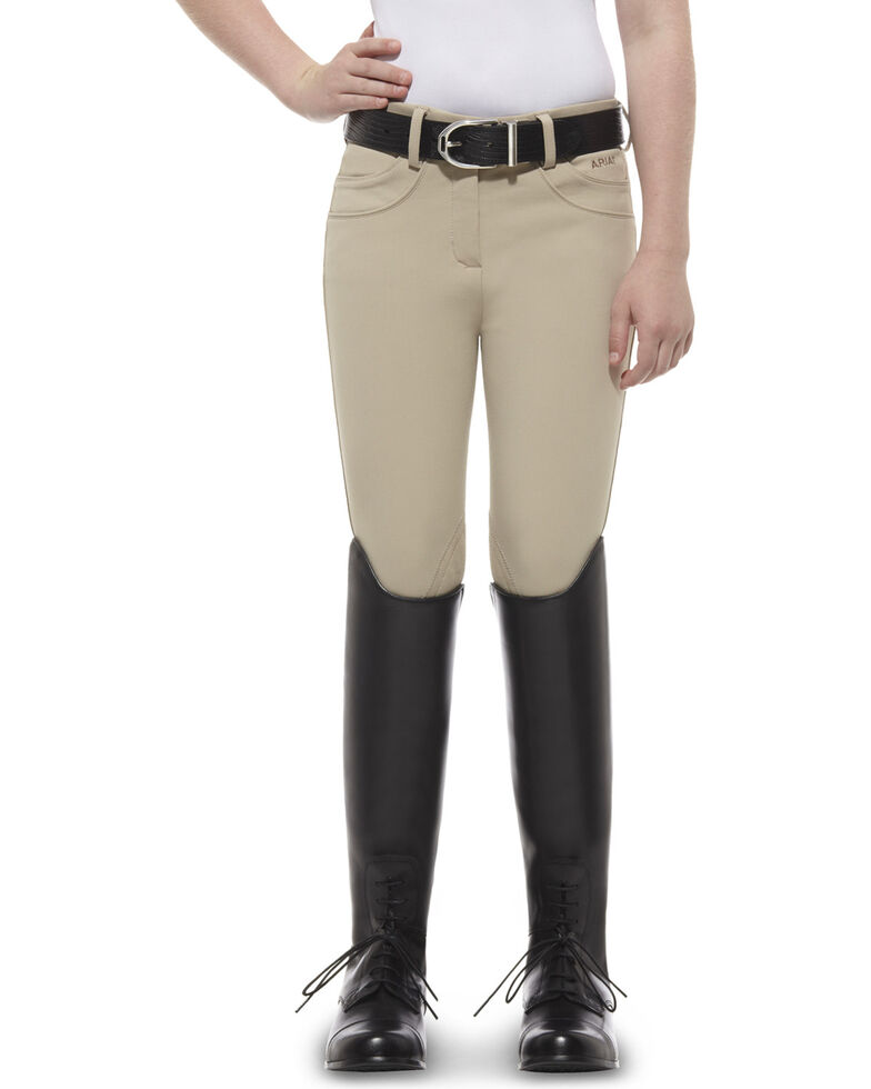 Ariat Girls' Olympia Low Rise Front-Zip Knee Patch Breeches, Tan, hi-res