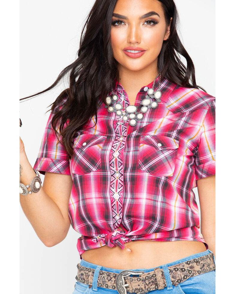 Panhandle Women's Plaid Front Placket Embroidered Short Sleeve Western Shirt  , Pink, hi-res