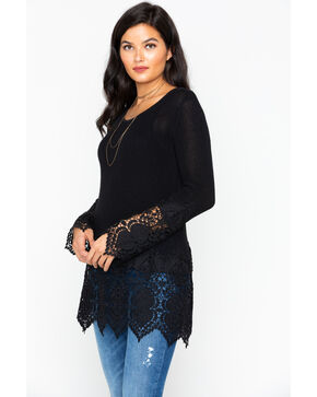 Cowgirl Up Women's Lace Cuff and Hem Top, Black, hi-res