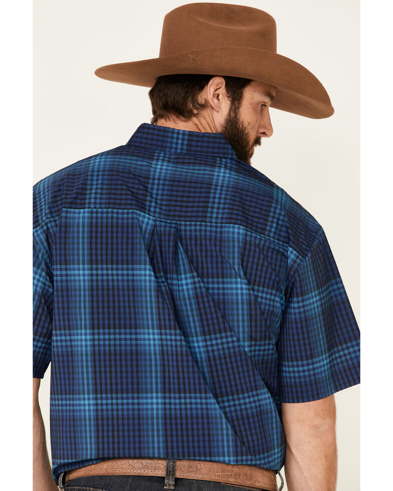 Cinch Men's Arena Flex Royal Large Plaid Short Sleeve Button-Down Western Shirt - Big, Royal Blue, hi-res