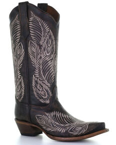 Circle G Women's Brown Feather Embroidery Western Boots - Snip Toe, Dark Brown, hi-res