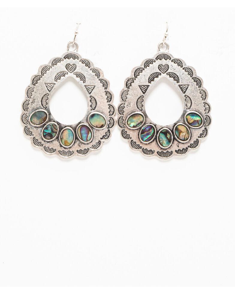 Shyanne Women's Autumn Aztec Print Abalone Tear Drop Earring , Silver, hi-res