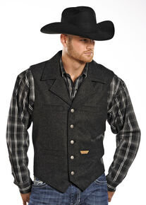 Powder River Outfitters Men's Black Wool Montana Vest , Black, hi-res