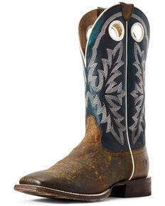 Ariat Men's Circuit Woodsmoke Western Boots - Wide Square Toe, Brown/blue, hi-res