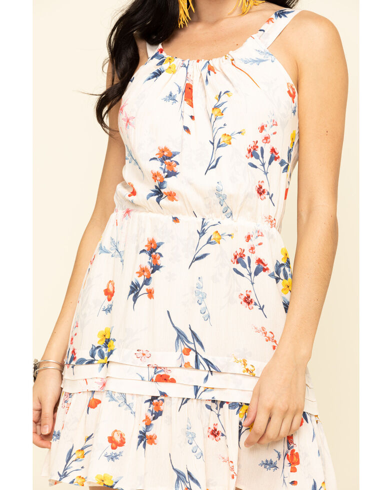 Miss Me Women's Ivory Floral Cutout Halter Dress, Ivory, hi-res